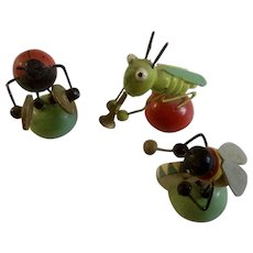 Vintage Italian Miniature Wooden Ladybug Grasshopper Bug Band Tiny Italy Wood Musicians