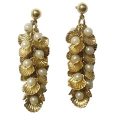 Vintage Gold Tone and Faux Pearl Dangling Shells Pierced Earrings Marked Avon NR Costume Jewelry