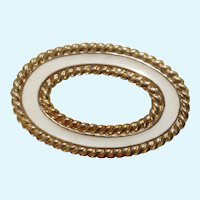 Monet Brooch Pin Oval Circle Gold Tone and Light Beige Cream Enamel Costume Jewelry