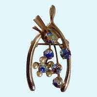 "Wishbone Pin Aurora Borealis Rhinestones and Faux Pearl Gold Tone 1-1/2"" Costume Jewelry"