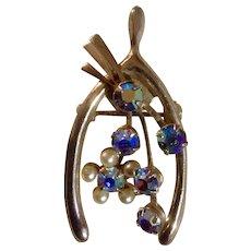"Aurora Borealis Rhinestones and Faux Pear Wishbone  Pin Gold Tone 1-1/2"" Costume Jewelry"