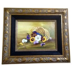 Bessie Wilkes Floral Pansy Basket Still Life Oil Painting on Canvas Signed By Artist