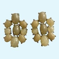 """Earrings Gold Tone and Faux Glitter Beige Stones Dangling for Pierced Ears 1-1/2"""""""
