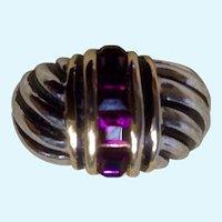 "Ring 18K Gold Filled Amethyst Color Stones Women's 6-1/2 """