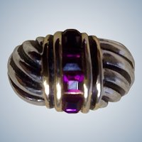 Ring 18K Gold Filled Amethyst Color Stones Women's 6-1/2 ""