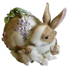 Fitz & Floyd EssentialsCookie JarBotanical Bunny Rabbit Ceramic Figurine