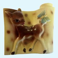 Bambi Deer Planter Vase Mid-Century Japan Figurine Fawn With Butterfly on Tail