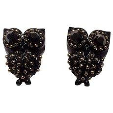 Vintage Owl Black Enamel Gold Tone Rhinestone Bird Pierced Earrings Costume Jewelry