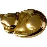 Vintage Liz Claiborne Gold Tone Sleeping Kitty Cat Costume Jewelry Pin