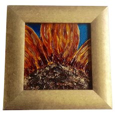 Amy Mathews, Sunflower Impasto Mixed Media Painting