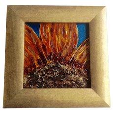 Amy Mathews, Sunflower Impasto Mixed Media Painting