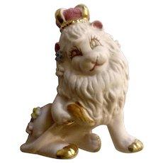 Rare Pink Lion King With Crown Bisque Ceramic Parksmith Original Figurine Japan