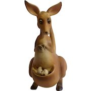 Josef Originals Rocking Mama Kangaroo With Adopted Kitten Cat in Pouch Ceramic Figurine Made in Japan