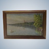 H. W. L. 1908 European Landscape Oil Painting of a Rowboat on a Peaceful Lake