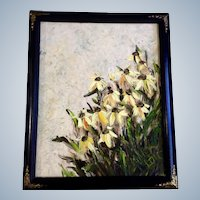 Mary Lou, Floral Landscape of Daisy Flowers Oil Painting on Canvas Board Signed by Artist
