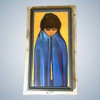Big Sad Eyed Native American Indian Boy in a Blue Blanket, Large Oil Painting on Board Signed by Artist Rixon
