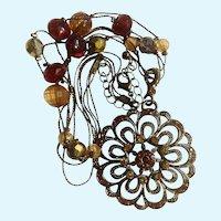 "Three Strand Beaded Necklace 18"" Long with Rhinestone Pendant Silver Tone Costume Jewelry"