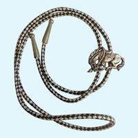 Western Bolo Neck Tie Silver-tone Horse Black White Nylon Strand