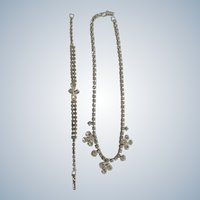 La-Rel Necklace and Bracelet Silver Tone with Clear Sparkle Diamond Rhinestones Vintage Set