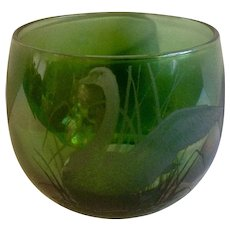 Gorgeous Viking USA Swan Etching Emerald Green with a Touch of Aurora Borealis Glass Votive