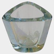 Strombergshyttan Stromberg Swedish Scandinavian Art Glass Crystal Vase Etched Butterfly Signed