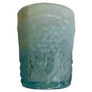 Rare Opalescent Aquamarine Blue Tumbler Glass Cup Grape Motif