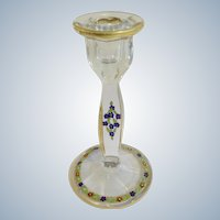 Art Deco Candlestick Crystal Glass Heisey with Hand Painted Enamel Flowers and Gold Trim Candle Holder