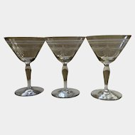 Etched Glasses Draped Swags Champagne Wine or Sherbet Clear Vintage