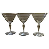 Vintage Etched Draped Swags Champagne Wine or Sherbet Clear Glasses