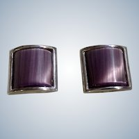 Vintage Tateosssian Cufflinks Purple Reflective Stone Silver Tone London