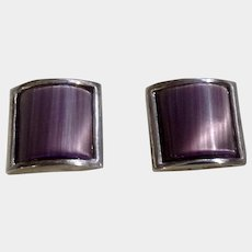 Vintage Tateosssian Cufflinks Purple Reflective Stone Silver Tone London