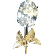 Vintage Floral Glass Diamond Rhinestone and Gold Tone Brooch Pin Costume Jewelry