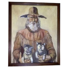 Santiago Perez, Mountain Man With Wolf Puppies Western Oil Painting