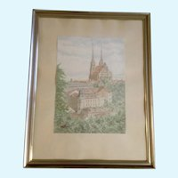 Architectural European City Watercolor Painting  Church Cathedral Initialed KK
