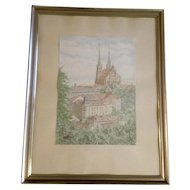 1959 KK Architectural Watercolor Painting of a European City Landscape Church Cathedral Monogrammed by German Artist