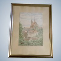 Architectural European City Watercolor Painting Landscape Church Cathedral Monogrammed by German Artist 1959 KK