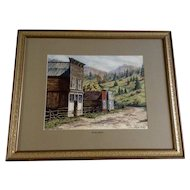 Jean Doyle Kelly Watercolor St. Elmo, Colorado Ghost Town Works on Paper Signed By Colorado Artist