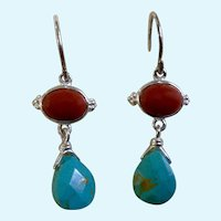 """Sterling Coral & Turquoise Colored Pierced Earrings Jewelry 1-1/4"""" Silver 925"""