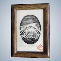 Mount Rainier Woodcut Print Stamped By Artist Vintage Miniature