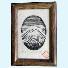 Mount Rainier Woodcut Print Stamped By Artist Vintage Miniature