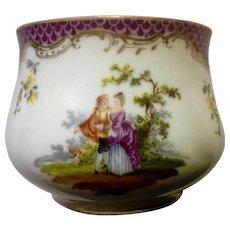 RK Richard Klemm Dresden Vase Bowl Hand Painted Victorian Figures Gold Trim Ceramic Pottery