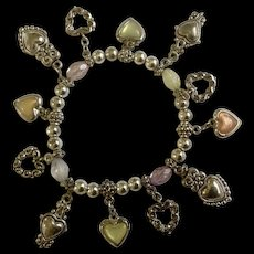 Beaded Silver Tone Bracelet With Dangling Heart Charms Costume Jewelry