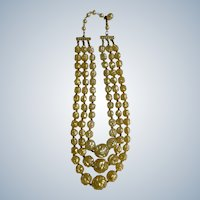 "Necklace Three Strand Cascading Vanilla Cream to Gold Cream Plastic Beads on Gold Tone Costume Jewelry 16-1/2"" Made in Hong Kong"