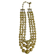 "Three Strand Cascading Vanilla Cream to Gold Cream Plastic Beads on Gold Tone Necklace Costume Jewelry 16-1/2"" Made in Hong Kong"