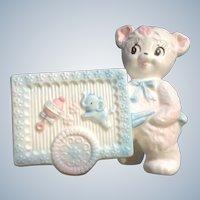 Baby Planter Mid-Century Napcoware Teddy Bear Pink Ceramic Cart Nursery Decor Figurine #C-8023 Made in Japan