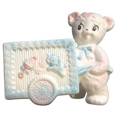Vintage Napcoware Ceramic Pink Baby Planter Teddy Bear & Cart Nursery Decor Figurine C-8023 Made in Japan