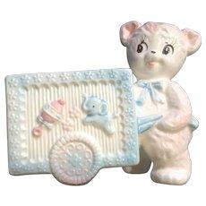 Vintage Napcoware Ceramic Pink Baby Planter Teddy Bear & Cart Nursery Decor Figurine C-8023 Made in Japan