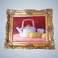 Dan Robinson, Teapot With Lemons, Original Still Life Oil Painting On Board By Listed Artist