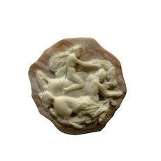 Incolay Greek Brass Belt Buckle Brown Stone Centaur & Lady Riding a Horse