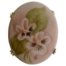 "Vintage Hand Painted Pink Floral Brooch Painted on Porcelain Initialed By Artist 2"" Costume Jewelry2"" Costume Jewelry"